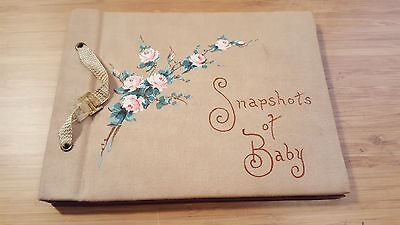 VTG 1930s SNAPSHOTS OF BABY Photo Album Unused Paper Photo Sheets Hand Painted