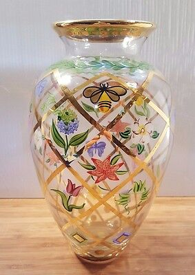 Lenox Hand Painted Vase with Bees, Butterflies and Flowers Artist Signed PKP