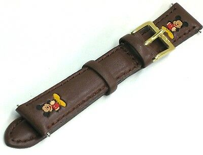Mickey Mouse Replacement Watch Band Strap Brown Leather 14mm Disney