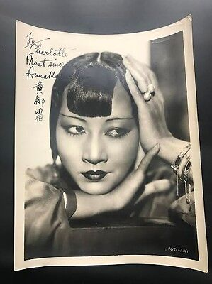 """8x10"""" Signed Autographed Anna May Wong Photo B&W"""