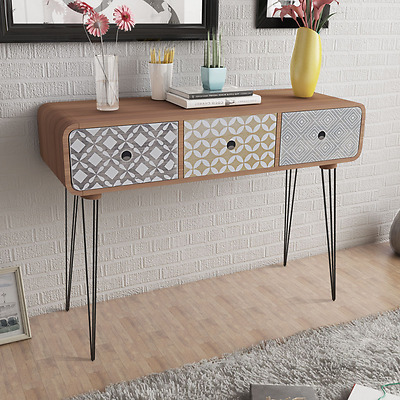 Retro Console Table Hallway Furniture Vintage Industrial Side Cabinet 3 Drawers