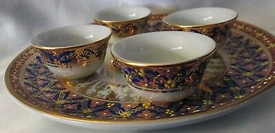 Thailand Hand Painted Plate and 4 Mini Cups