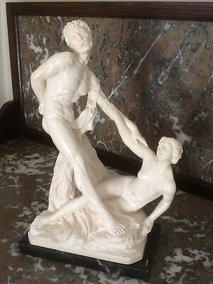A Santini Classic Figure/Statue Nude Man/Woman on Marble Plinth Italy Exc Cond