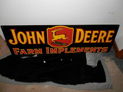 Large John Deere Farm Implements Metal Embossed Sign Made in USA