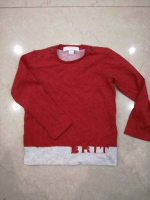 Burberry New Jersey Boy Brit Print Tshirt Top Authentic 2 Years Red Grey Marl
