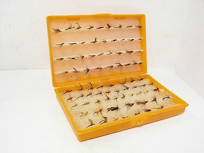 Vintage Hardy Strip Hold Fly Box & 79 x Trout Flies