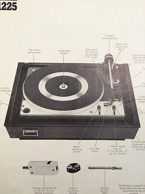 """Dual 1225 Turntable """"Original"""" Owners Manual 5 Pages"""
