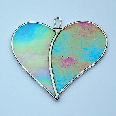 Stained Glass Love Heart (Two Hearts become One) in opalescent iridescent glass