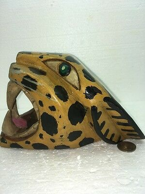 Vintage Hand Carved Jaguar Painted Wood LG Head Wall Hanging