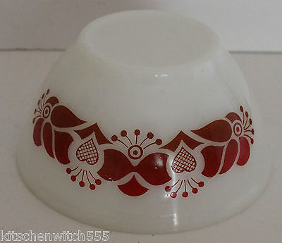 Pyrex Red White Bowl Patterned Mixing Server Milk White Pyrex Ovenware Vintage