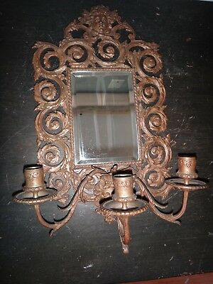 Antique 18th Century Bronze 3 Arm Mirror Candle Sconce Figural Faces France