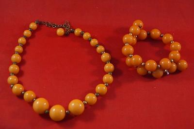 Vintage Bakelite Orange Bracelet & Necklace Set