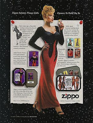 1996-97 Lot of 2 ZIPPO LIGHTERS Print Ads Pin-Up girls, 65th Ann