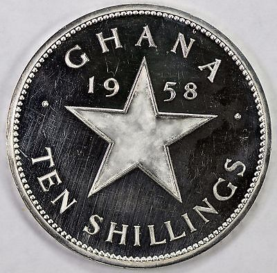 Ghana silver proof 10 Shilling, 1958 Independence