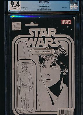 Star Wars 1 Luke Skywalker Action Figure B&w Sketch Variant 2015 C2E2 Cgc 9.4