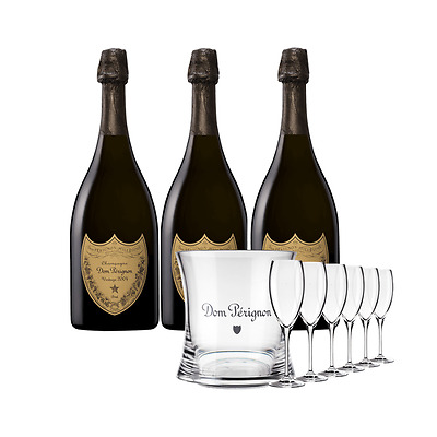 Dom Perignon x 3 with Ice Bucket and 6 Flutes