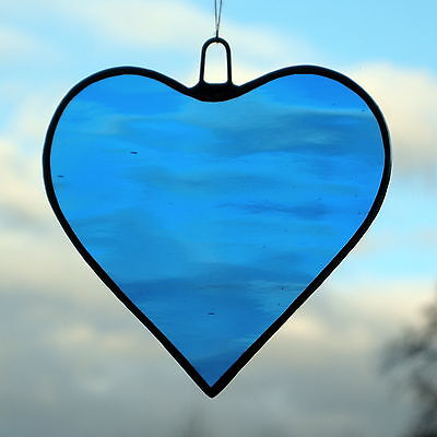 Stained Glass Hanging Ornament suncatcher (Love Heart) Light Blue water glass