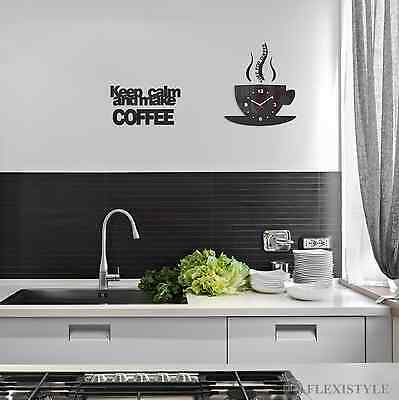 """Modern Large Wall Clock Home Decoration Kitchen +""""KEEP CALM AND MAKE COFFEE"""" Set"""