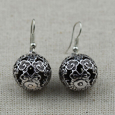 Ethnic Tibet Vintage Silver Chinese Clouds Carved Hollow Ball Earrings For Women