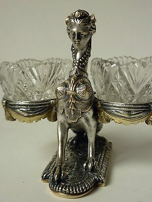 1850s Figural Gilt and Silvered Bronze Double Open Salt Museum Quality