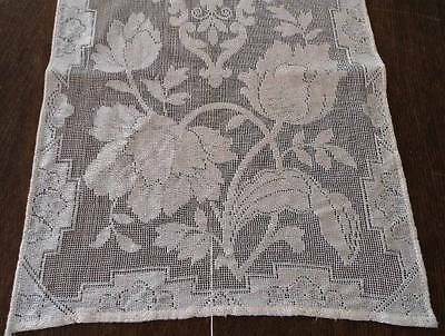 Vintage Embroidered Net Lace Table Runner Silky Flowers Dresser Scarf Ecru 28""