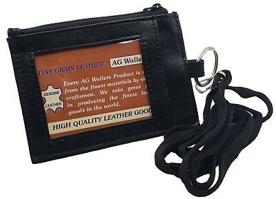 Genuine Leather ID Badge Holder Neck Pouch Ring Wallet with strap 067R Black
