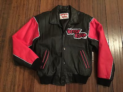 Betty Boop Leather Red & Black Letterman Jacket American Toons by Excelled S