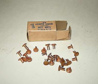AMERICAN RIVET CO BOX of 25 ASSORTED LENGTHS COPPERED SPLIT RIVETS 4/16 to 8/16