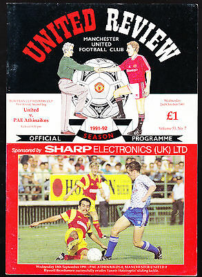 Manchester United Vs. PAE Athinaikos Programme October 1991 European Cup Winners