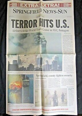 Lot 4 Newspapers September 11 2001 World Trade Center Attack Springfield OH 9/11