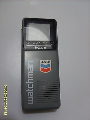 Old Vintage Chevron Oil Gas Service Station Advertising Sony Watchman Television