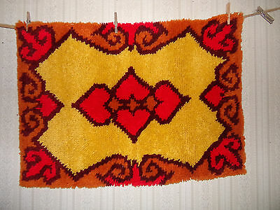 "Vtg Finished Latch Hook Yarn Rug Wall Art Red Yellow Orange Heart Print 24""x 34"""