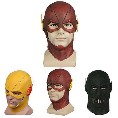 The Flash Mask Cosplay Costume Prop Halloween Full Head Latex Party Mask Gift
