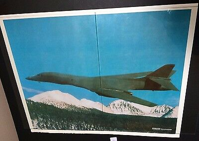Vintage Rare Fighter Jet Plane Poster, Textron Aerostructures Air Force Military