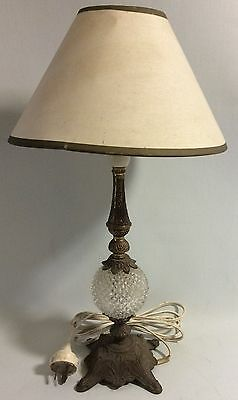 Vintage Brass/Glass Table Lamp
