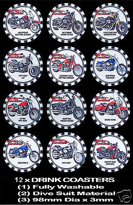 12 x HARLEY DAVIDSON, 12 DIFFERENT MODEL BIKES DRINK COASTERS - Fully Washable