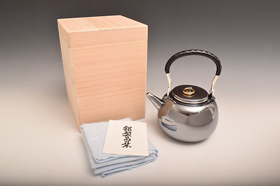 Japanese Pure Silver TEA KETTLE signed MITSUKOSHI / W16 H19[cm] 446g / NEW !!