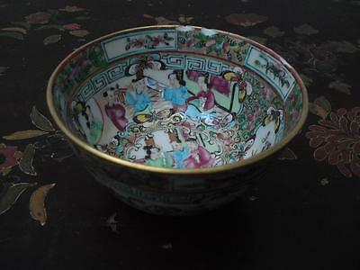 Antique Chinese 19th century Cantonese Famille rose porcelain bowl a/f