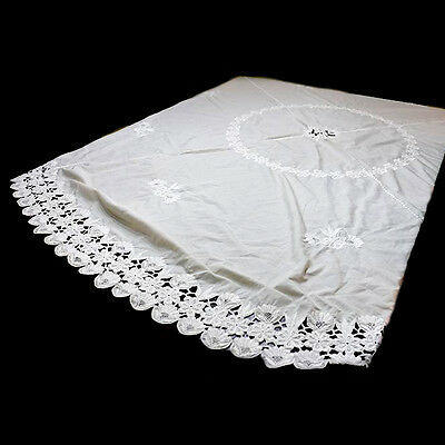 Vintage huge round cream embroidered lace tablecloth  Measures 220cm diameter