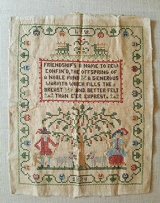 Antique 1929 Linen Cross Stitch Sampler Primitive Needlepoint Complete Unframed