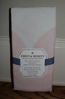 NWT Pottery Barn Kids Emily & Meritt the pink heart organic crib fitted sheet