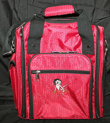 Diamond pattern Ruby Red Vinyl BETTY BOOP overnite bag Wheeled Carry on Luggage