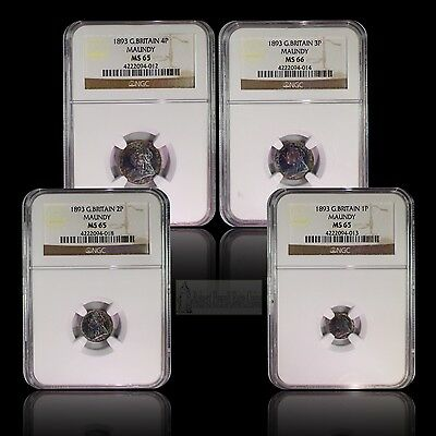 1893 Great Britain Maundy Set Certified By NGC with Outstanding Eye Appeal