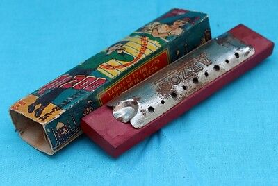 Antique old  Arzoo wooden metal Harmonica Music Instrument With Cover