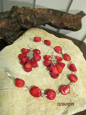 Sterling Silver 925 Wire Wrapped Coral Linked Bracelet and Hook Earrings