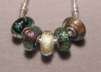 5 x GLITTER mix - 925 stamped Sterling Silver EUROPEAN Murano Glass Beads   (21)