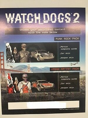 WATCH DOGS 2 SAN FRANCISCO Collectors Edition PS4 PUNK STREET THEME CODES