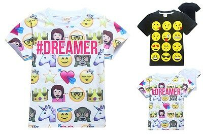 New Kids Boys Girls EMOJI EMOTICONS SMILEY FACES Summer T shirt Tops Tee Clothes
