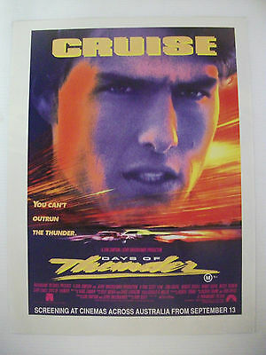 Tom Cruise You Can't Outrun The Thunder Days Of Thunder Movie Magazine Advert