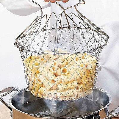Kitchen Foldable Steam Rinse Strain Fry Chef Basket Strainer Net Cooking Tool